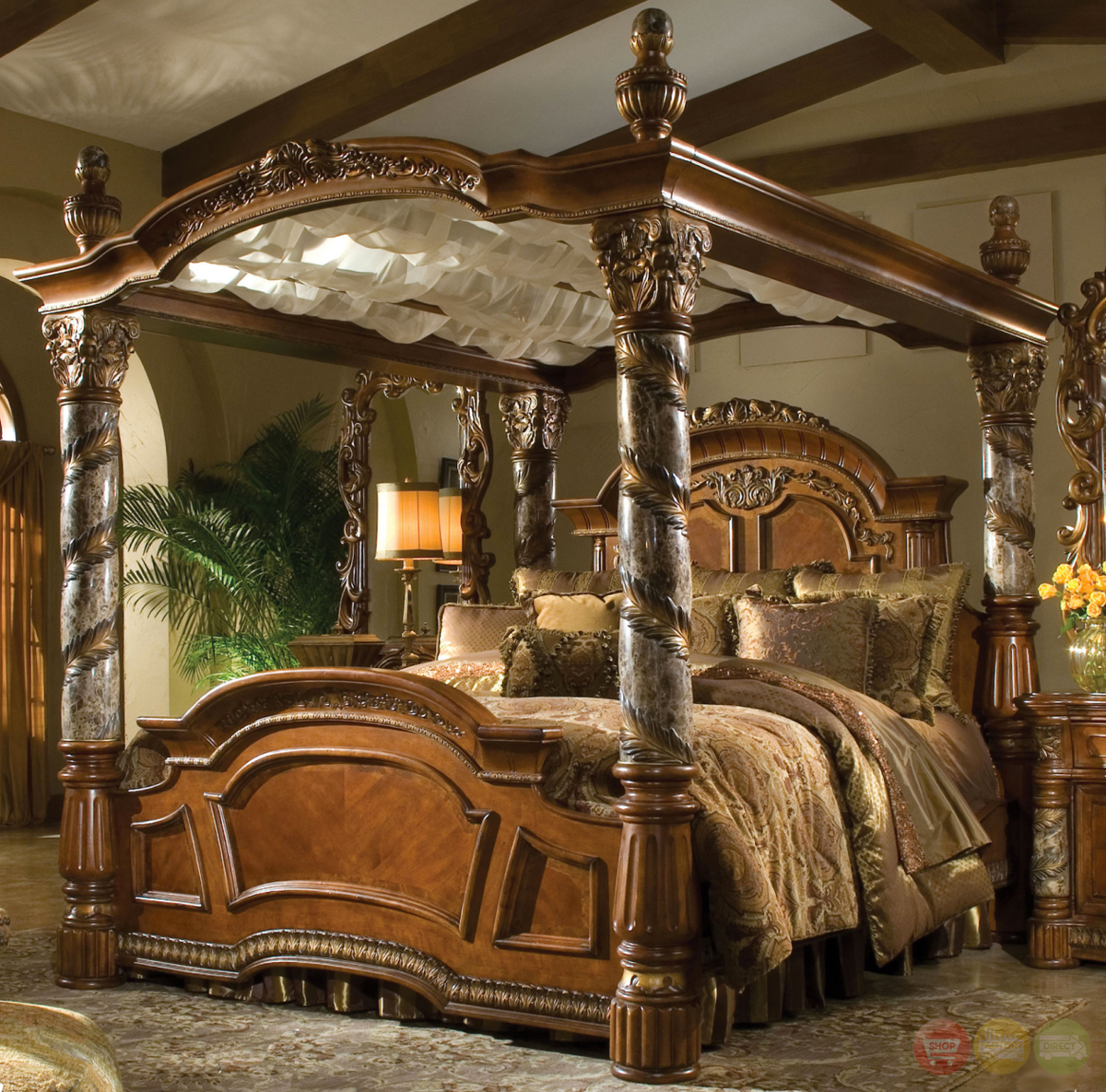 Michael Amini Villa Valencia Luxury King Canopy Bed Marble Posts By AICO