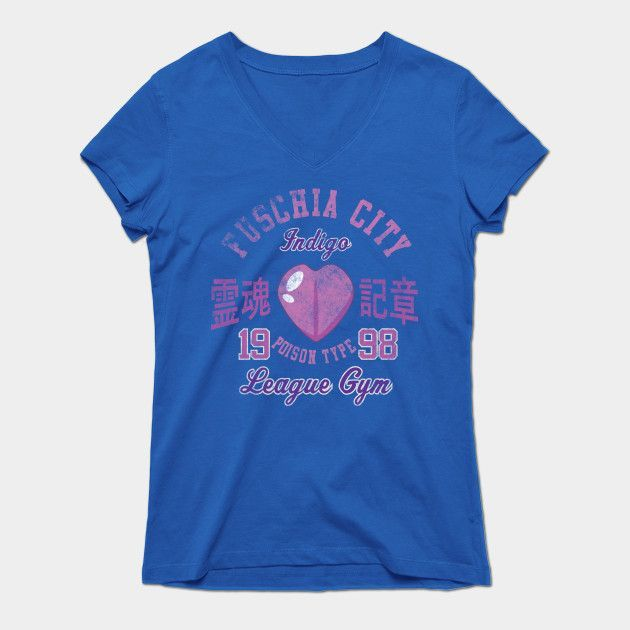 Fuschia City Gym Womens V-Neck T-Shirt
