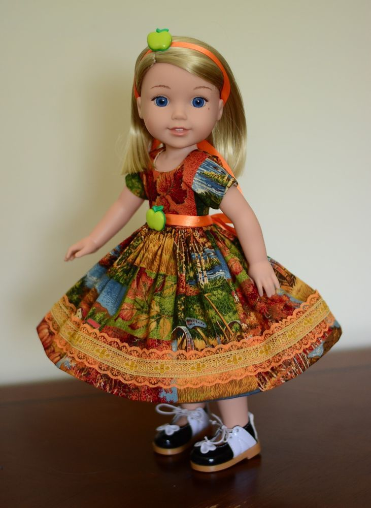 """""""Autumn at the Farm"""" Dress, Outfit, Clothes for American Girl Wellie Wishers…"""