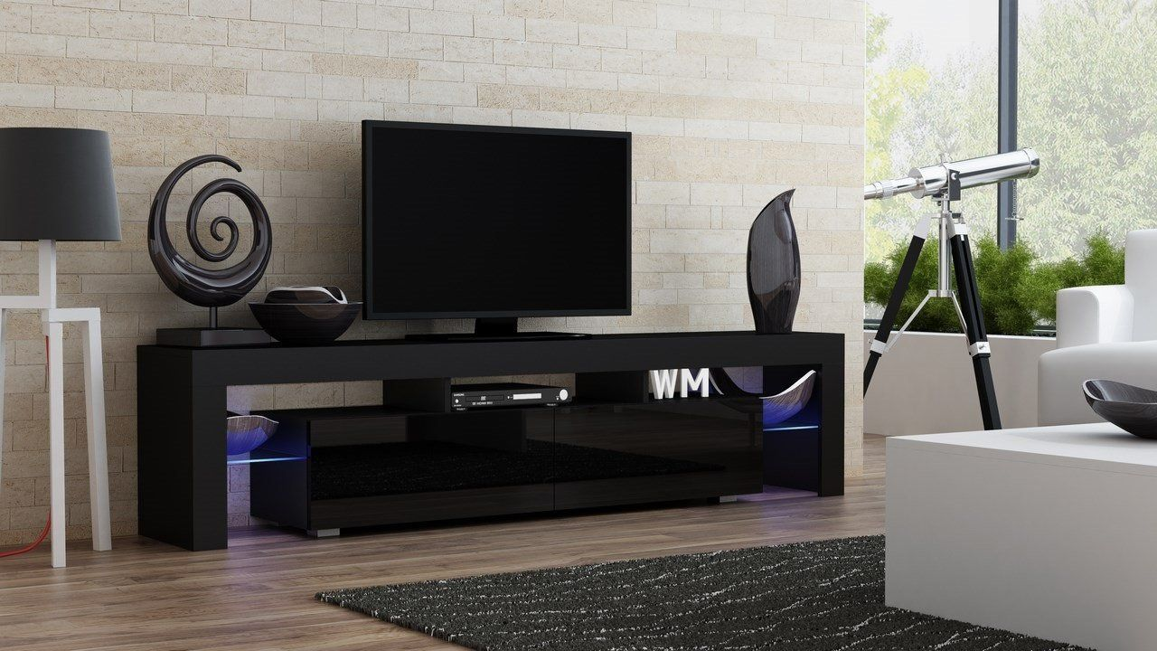 Modern Living Room Design With Tv Stand Milano 200 Black Body  # Meuble Tv Milano