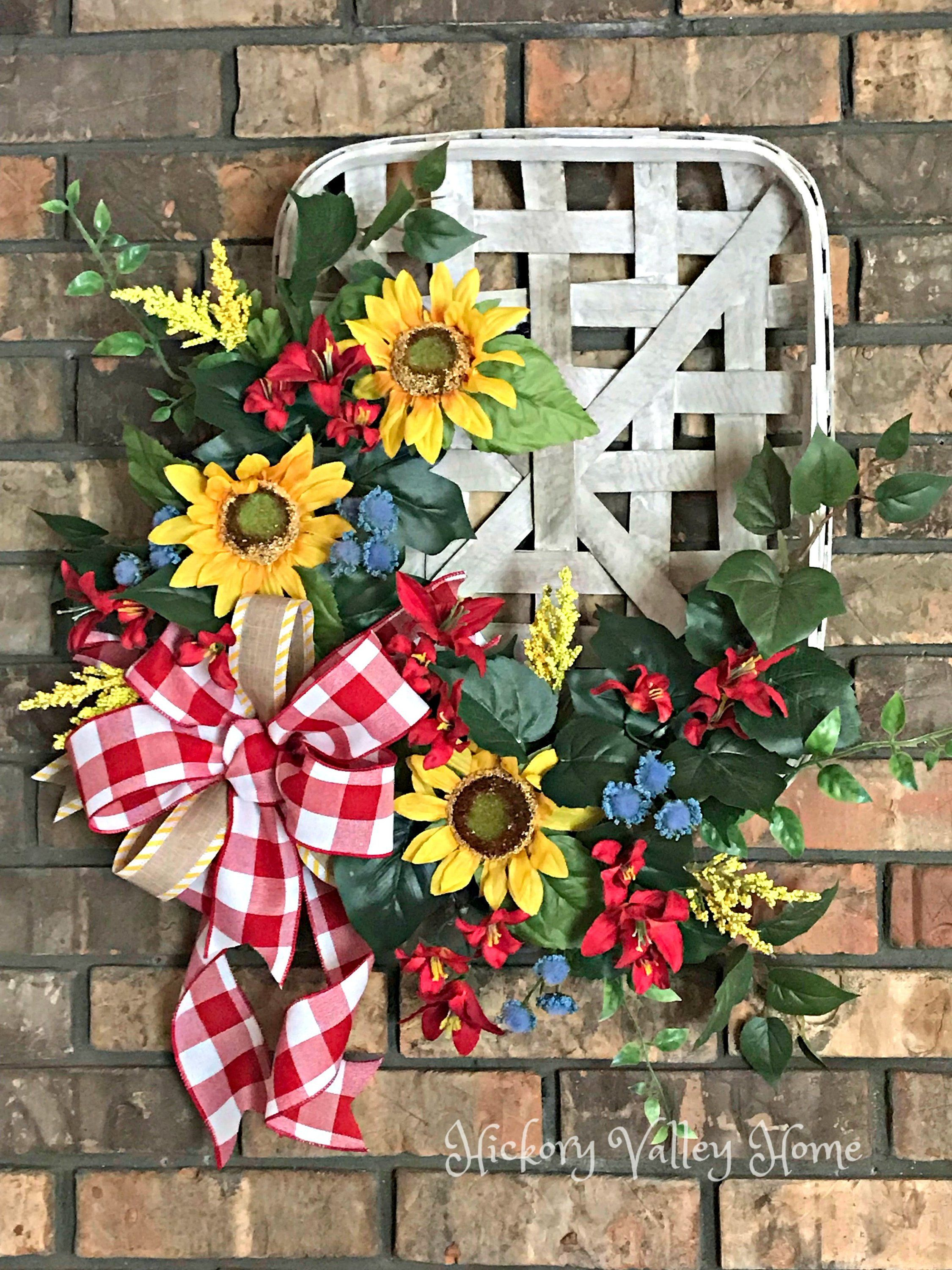 Photo of Summer Wreath, Tobacco Basket Wreath, Sunflower Wreath, Summer Swag, Front Door Wreath, Farmhouse Décor, Red and Yellow Wreath, Summer Decor