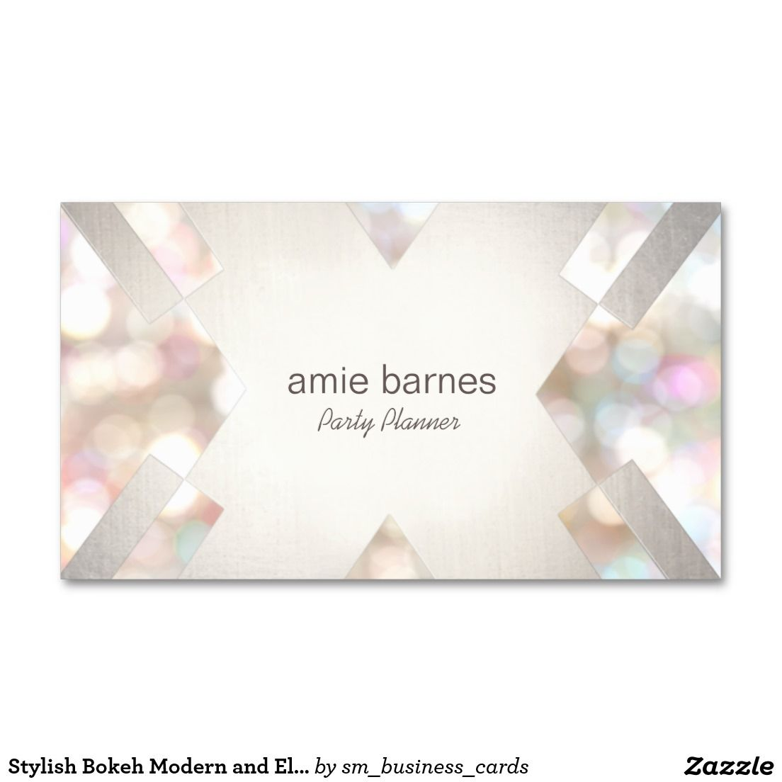 Stylish Bokeh Modern and Elegant Event Planner Business Card ...