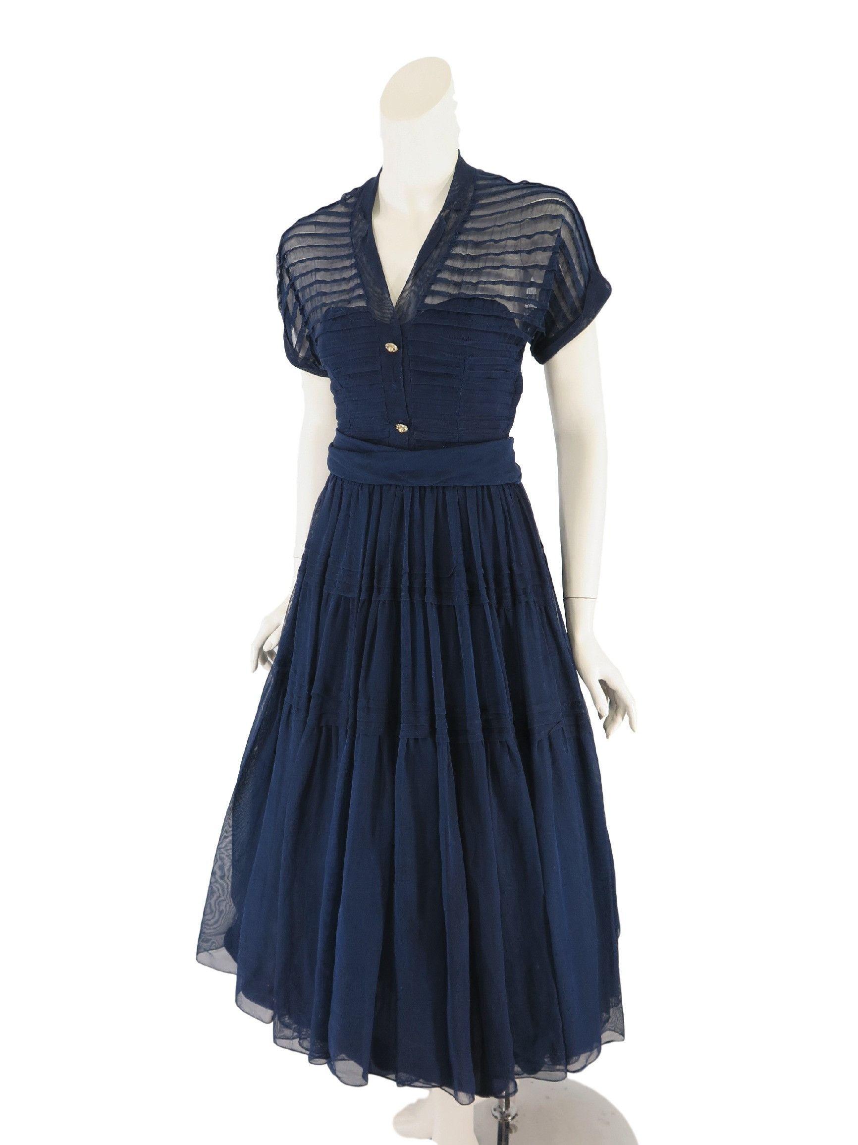 40s/50s Navy Blue Party Dress - sm #navyblueshortdress