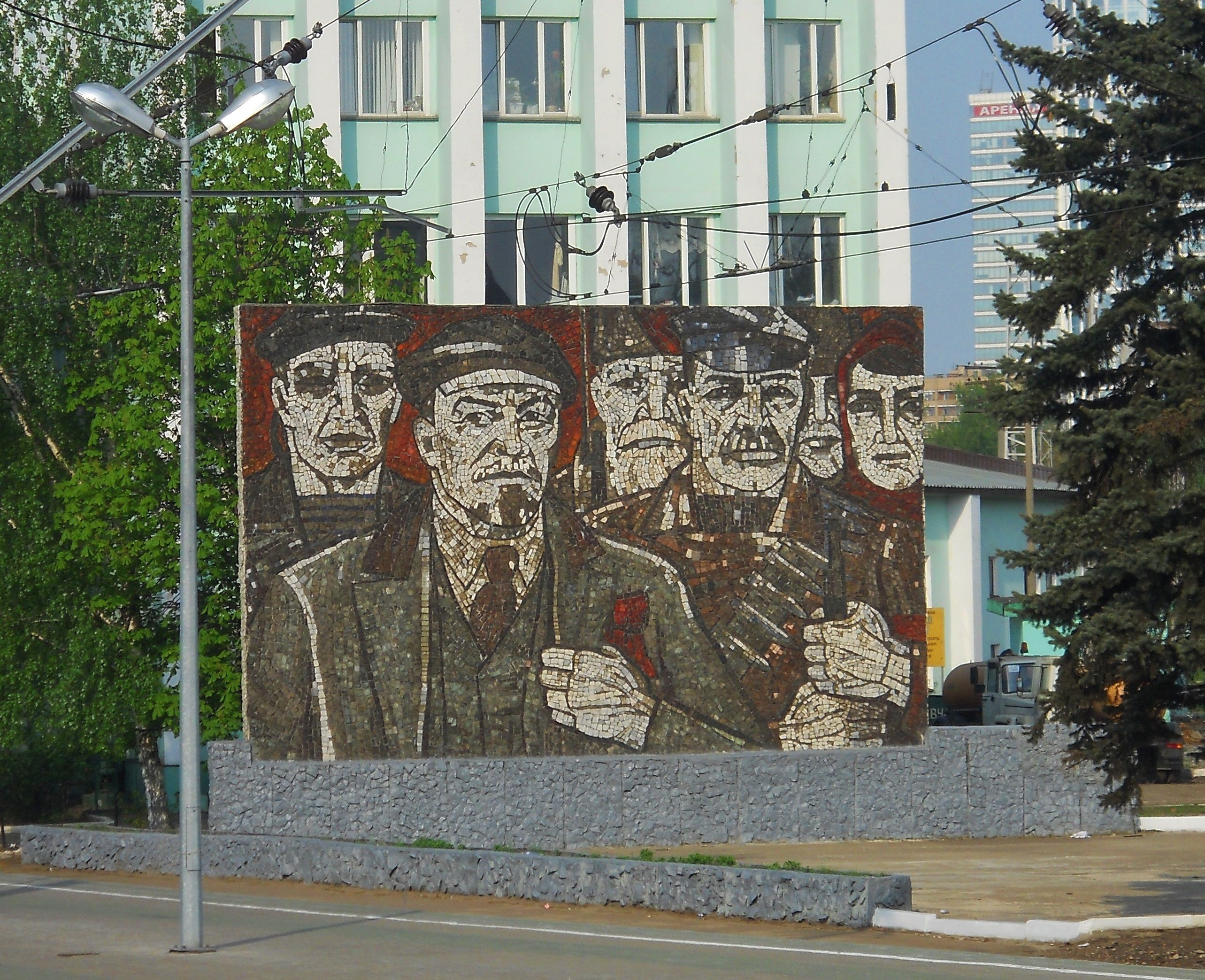 """CCCP. Soviet mosaic """"Lenin"""" located in Tverskoy a district of Central Administrative Okrug of the federal city of Moscow, Russia."""