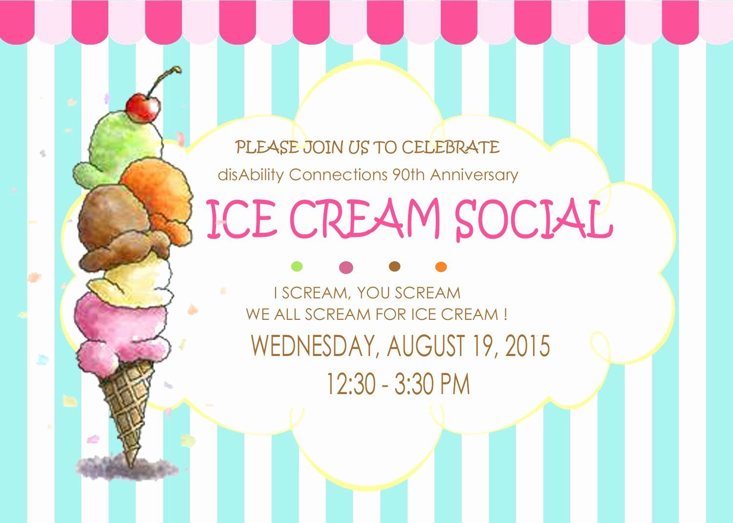 Ice Cream Social Flyer Awesome Disability Connections Inc Ice Cream Social 90th Anniv Ice Cream Social Invitations Ice Cream Social Ice Cream Party Invitations