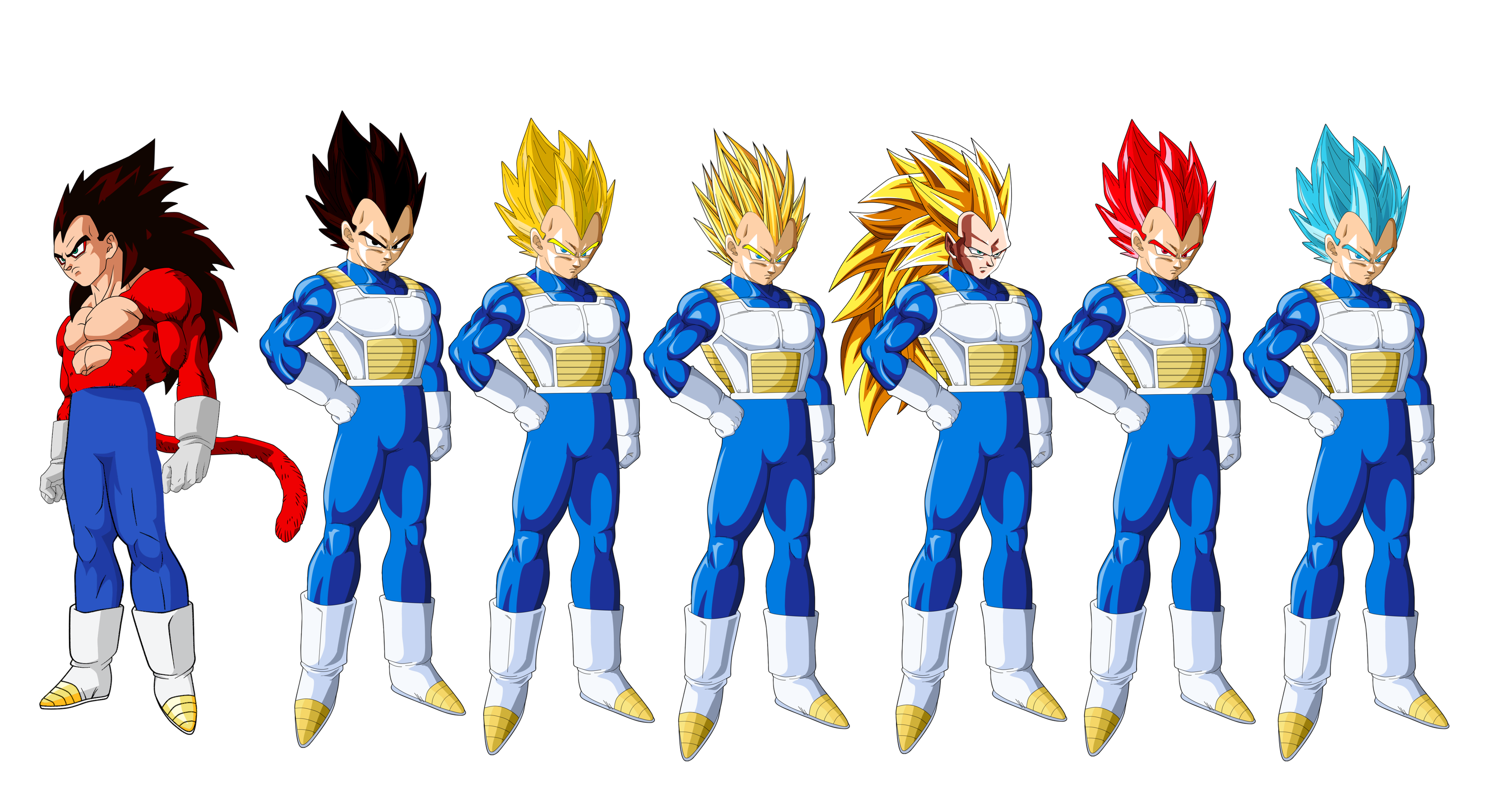 vegeta all forms PNG by HeyZEUS-Lupus on DeviantArt