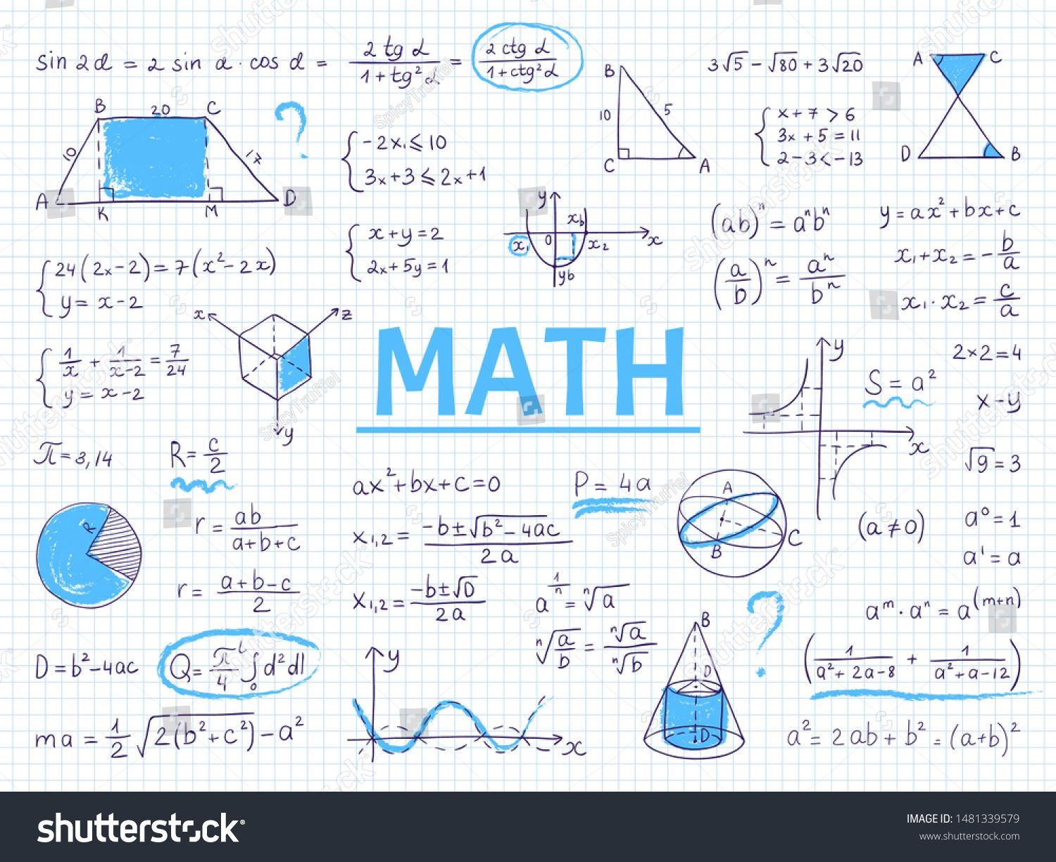 Doodle Math Algebra And Geometry School Equation And Graphs Hand