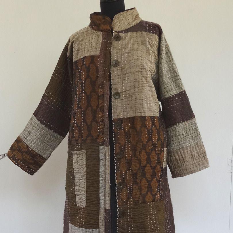 Coton Femme Brun En Patchwork Manteau Noir Gaudri Beige Et xqYfSAAU