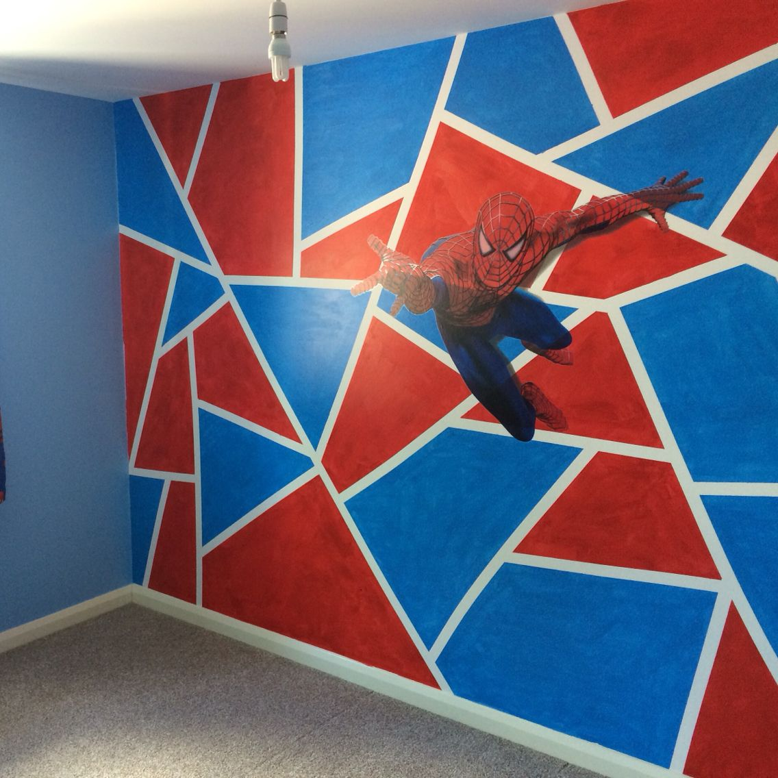 Spiderman Tape Crazy Red Blue Bedroom Boys Bedroom Spiderman Bedroom Paint Red Boys Bedroom Boy Room Paint