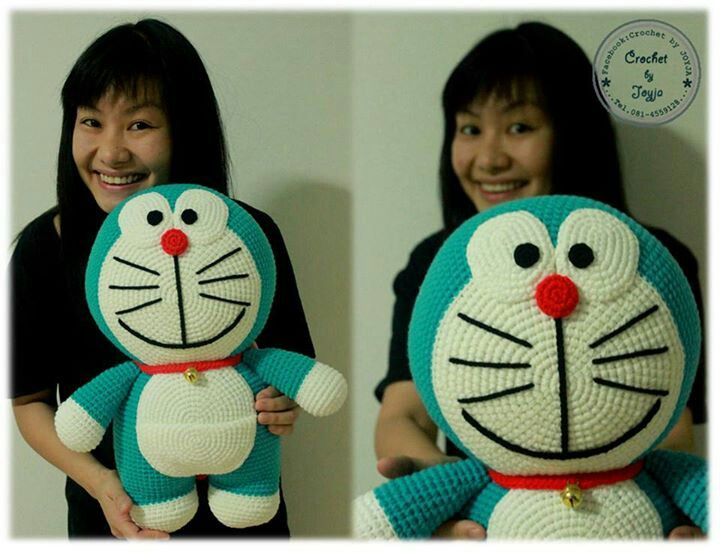 Amigurumi Doraemon Pattern : No pattern crocheted cat crochet crochet
