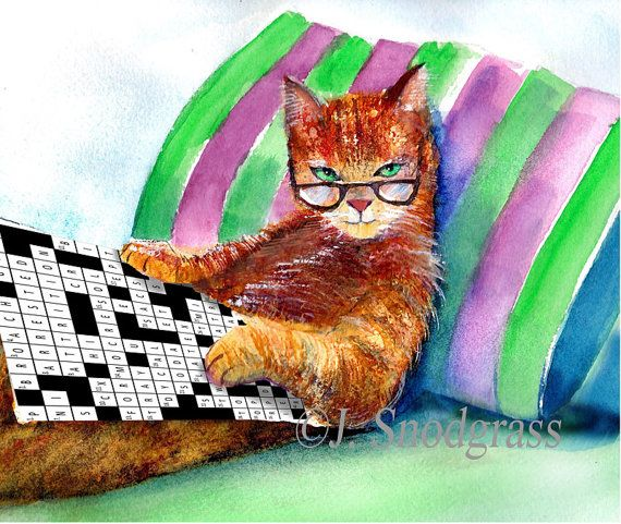 Cat With Glasses Doing Crossword Puzzle Watercolor By Calartist