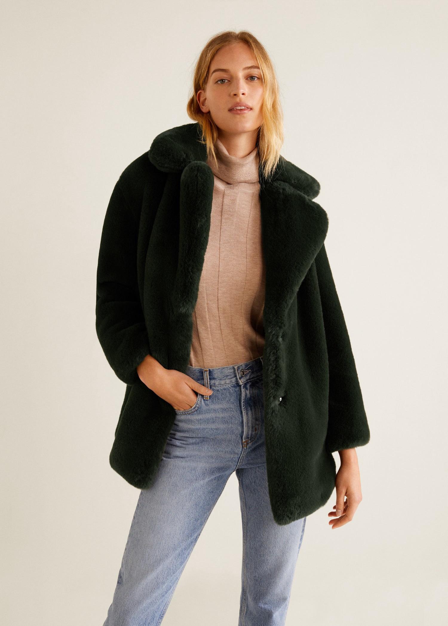 Mango Faux Fur Coat - Cognac Xxs Faux Fur Jacket 6e11497918e
