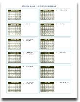 Yearly School CalendarTemplate To Fill In Details Can Highlight