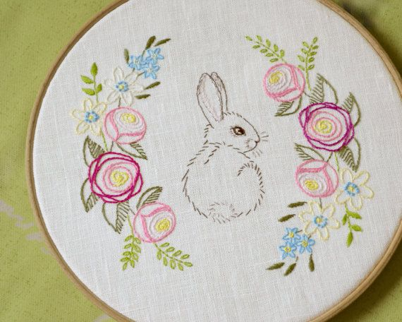 Easter hand embroidery patterns bunny diy gift
