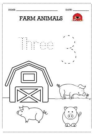 Tracing Sheet Worksheet Prewriter Farm Animal Pack Pig Number Three 3 Farm Animals Tracing Preschool Preschool Worksheets Farm animals pre k worksheets