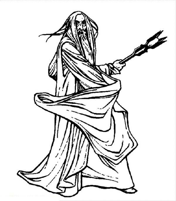 Saruman the White in the Lord of the Rings Coloring Page - Free ...