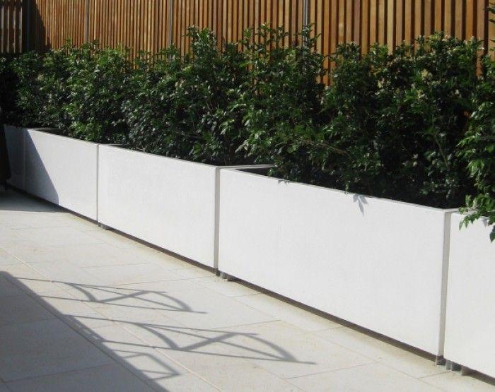 Langwerpige plantenbakken van aluminium leverbaar in alle - Openlucht tuin idee ...