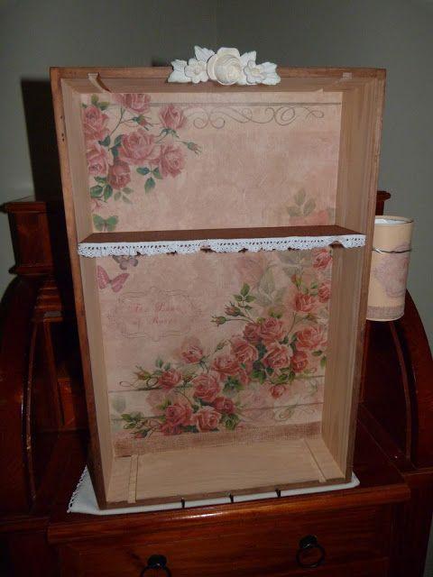 caja de vino reciclada como mueble auxiliar de jardinera decorada con papel de arroz - Cajas De Vino Decoradas