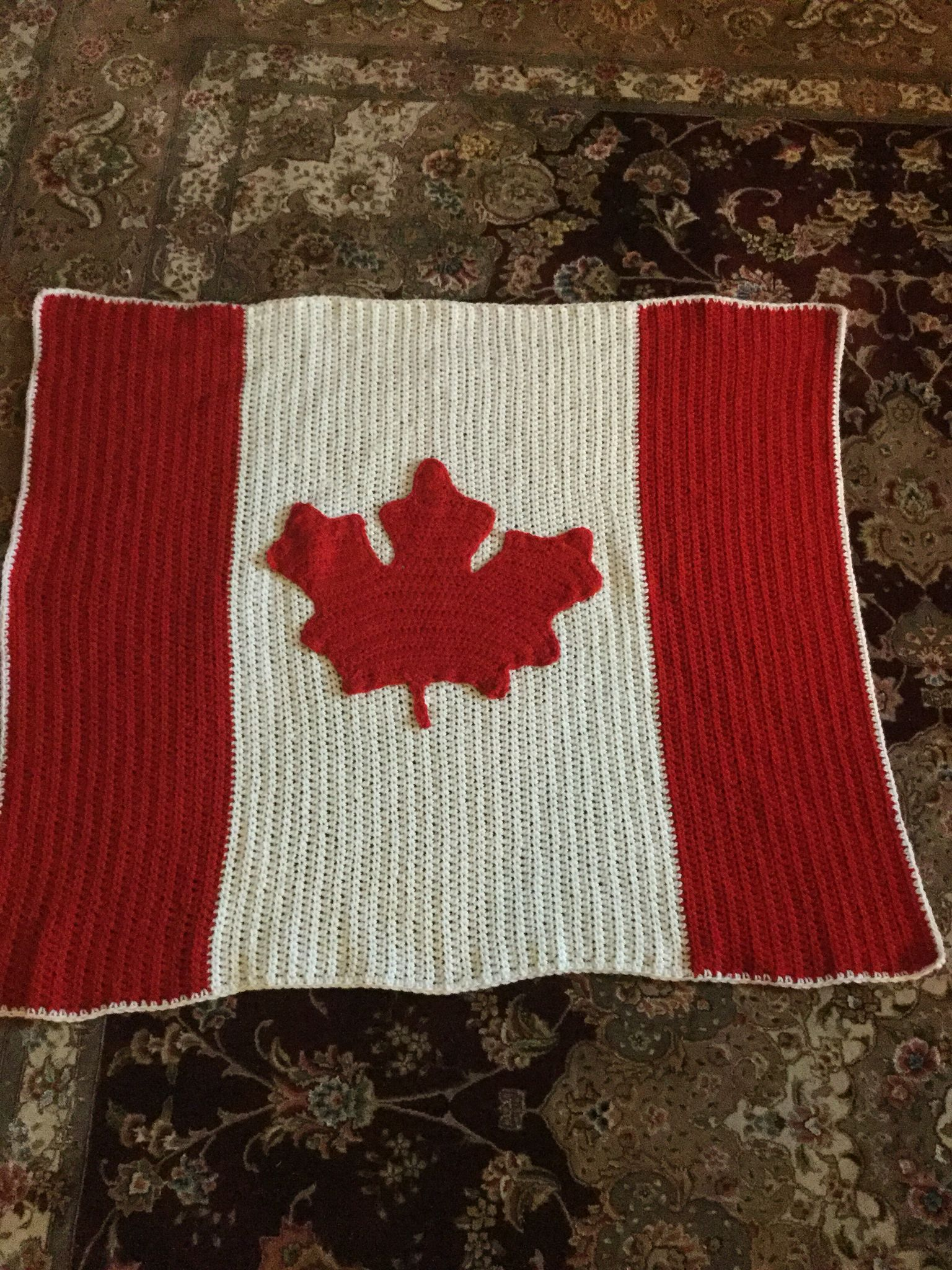 A friend wanted a Canadian flag baby blanket. I couldn't