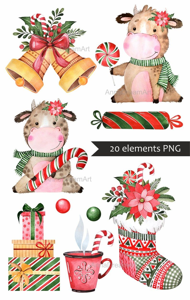 Christmas clipart. Cute bull. Symbol of the year 2021