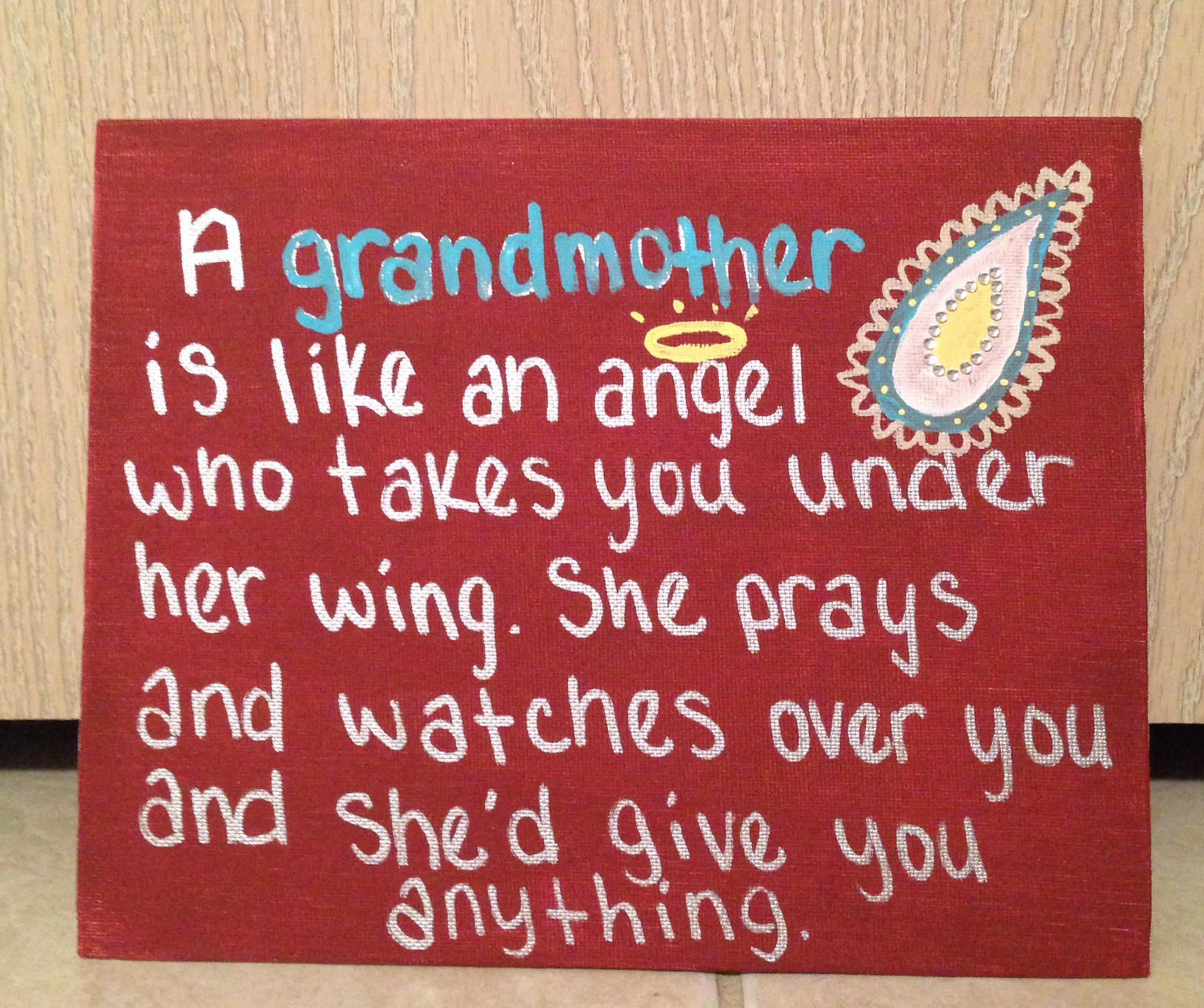 Diy Painted Canvas Grandmother Quote Canvas Gift Birthday