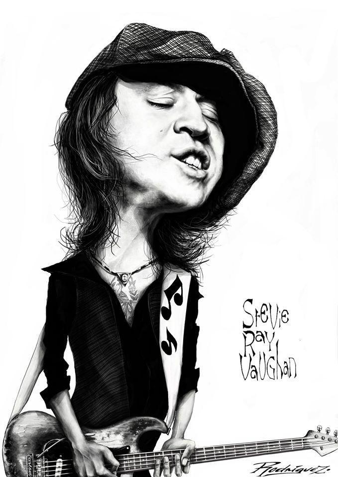 STEVIE RAY VAUGHAN by Antonio Rodriguez Garcia http://rodriguez-cartoons.blogspot.mx/2015/08/stevie-ray-vaughan.html