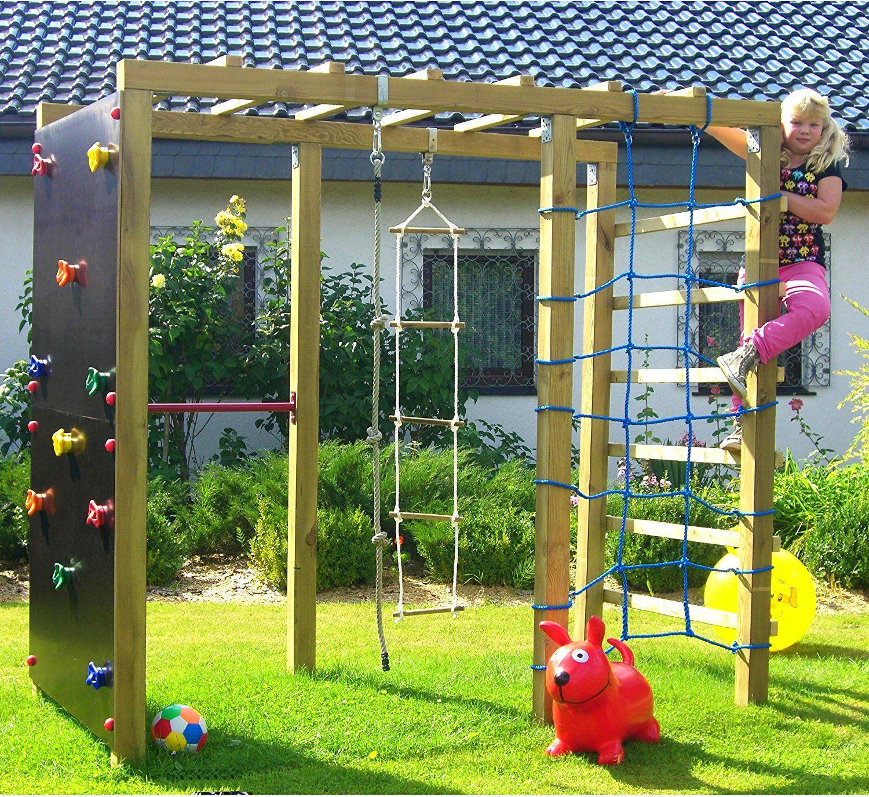 Xxl Klettergerust 2 4m Kletterturm Mit Kletternetz Reckstange Kletterwand Leiter Play Area Backyard Backyard For Kids Backyard Play