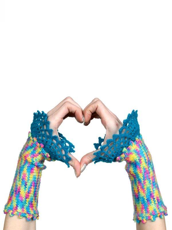 Neon Rainbow Wool Gloves | Gloves / Mitts / Cuffs | Pinterest