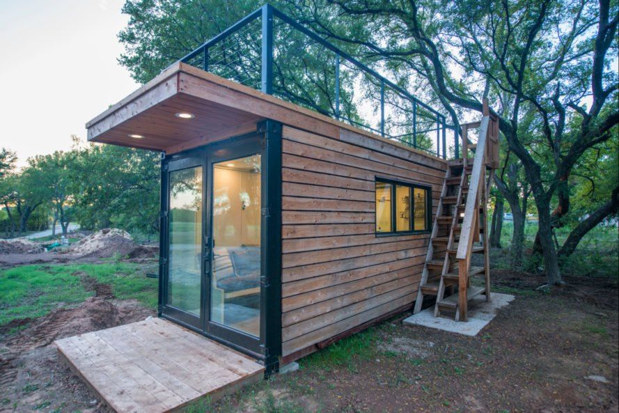 This Tiny Home With A Rooftop Deck Is Made From Two Shipping Containers House Roof Design Container House Interior Container House Plans