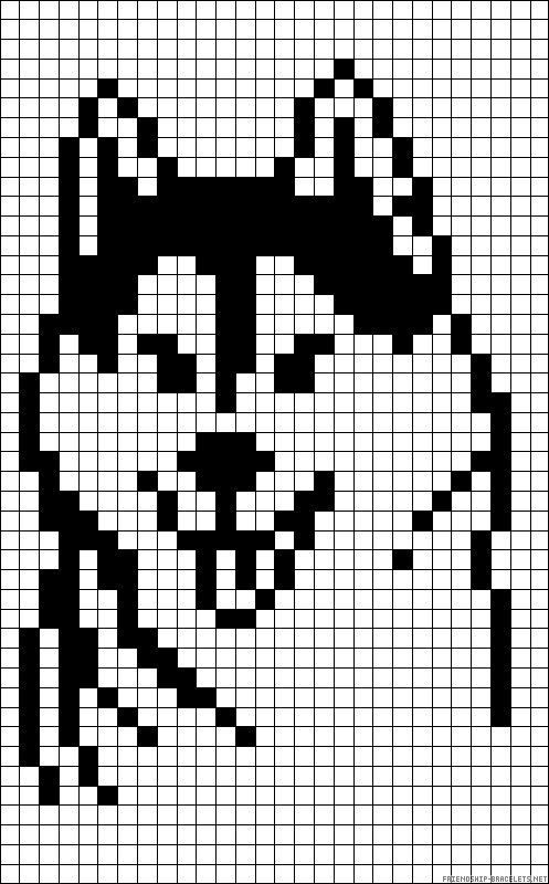 Perro lobo   Pixel Art-Minecraft   Pinterest   Bordado, Croché and ...