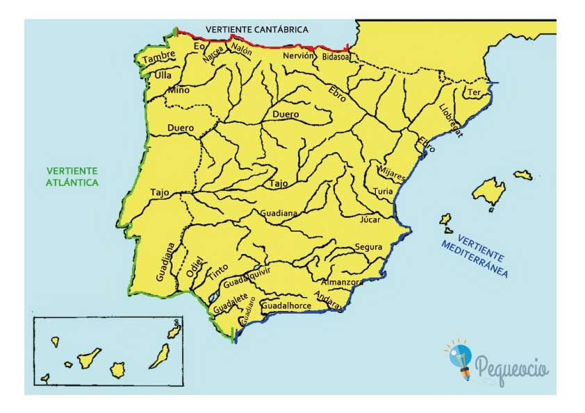 Mapa Fisico Peninsula Iberica Rios.Pin En Educacion Infantil
