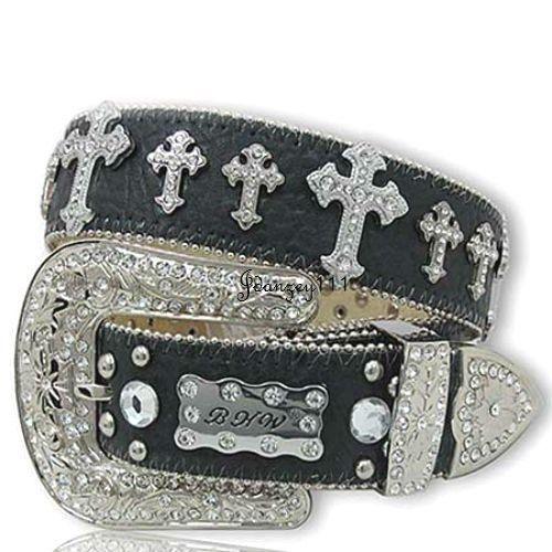 37fb9fa0daf8 4XL Plus Size Western Cowgirl Belt LEATHER Black Tooled Rhinestone Women  Cross  BHW