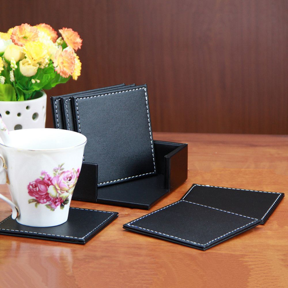6pcs Lot Best Price Leather Placemat Coasters Of Cup Mat Pad Pu Leather Fit For Home Leather Coaster Set Leather Coasters Decorating With Pictures