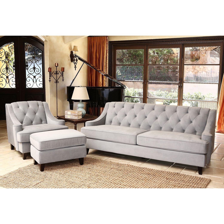Abbyson living claridge velvet fabric 3 piece steel blue sofa armchair and ottoman set