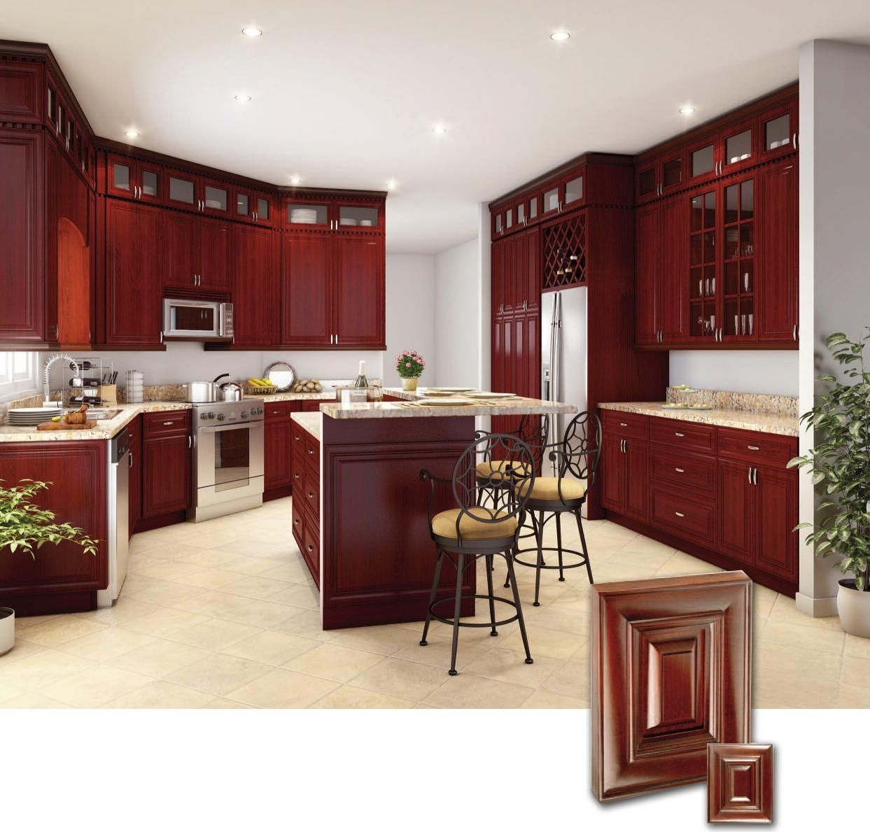 Cherry kitchen cabinets with gray wall and quartz for Cherry wood kitchen cabinets price