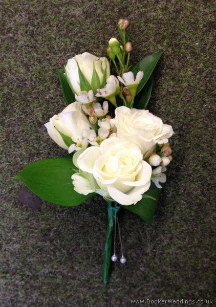 All White Wedding Flower Pin Corsage With Spray Roses And