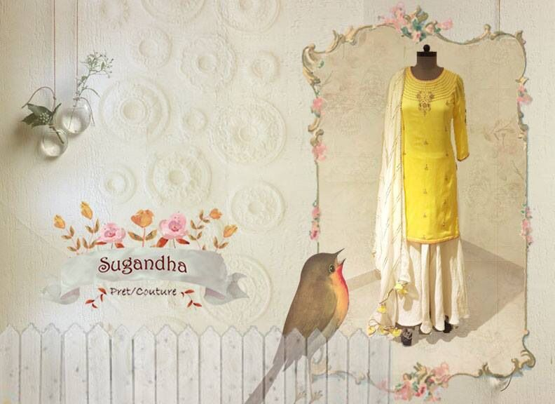 The yellow sharara #sharara #flare #sangeet #pretty #stunning #gorgeous #indian #sugandha #designer #yellow #ivory #handembroidery