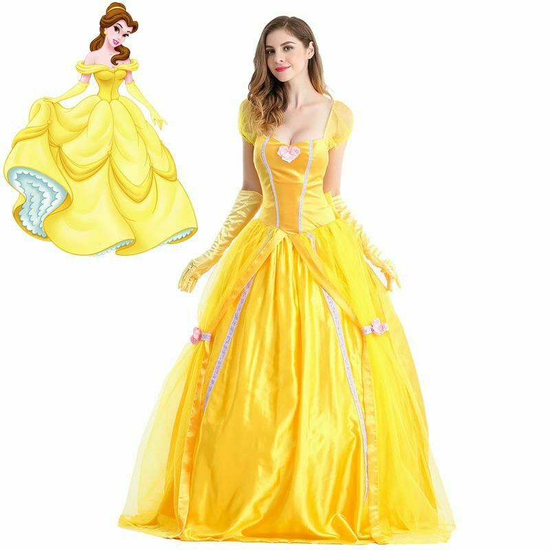 HOT Adult Beauty THE Beast Princess Belle Cosplay Costume Ball Gown Fancy Dress