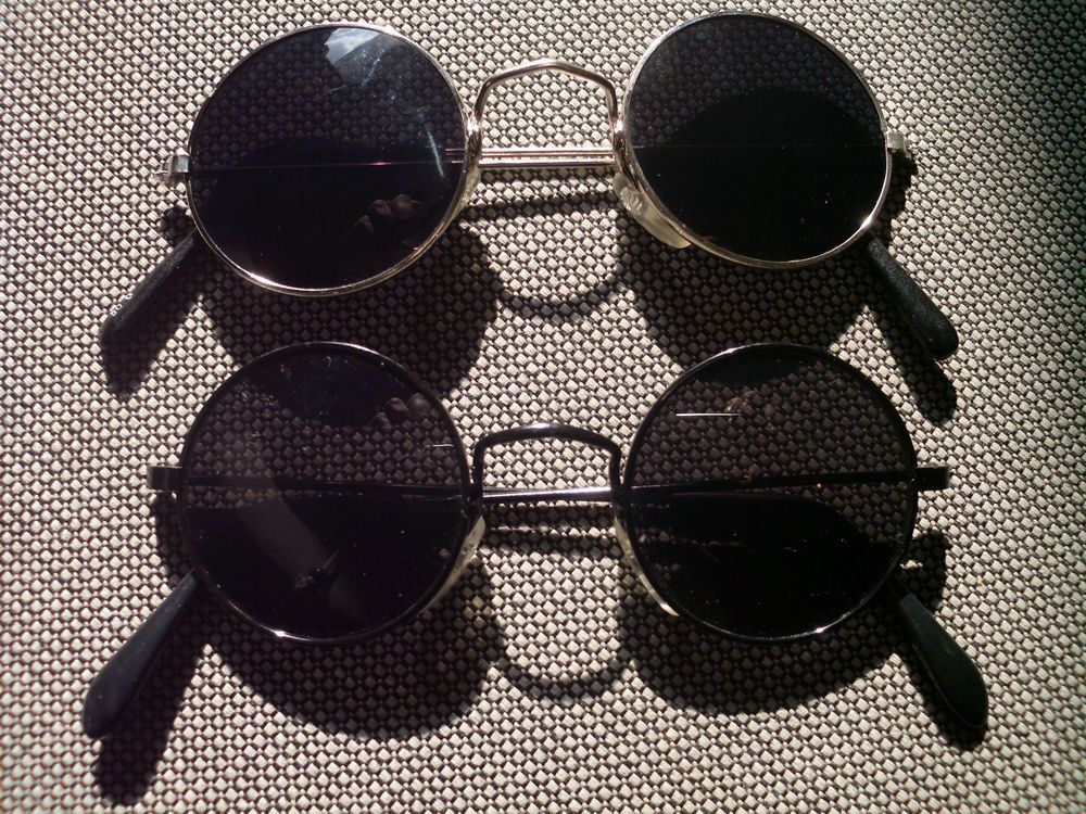 Lot of 2 Sunglasses with round lenses Seventies Hippie Goa Style Glasses  Set 2a 803c89439590