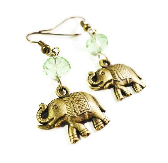 Bronze Elephant Earrings Peridot Green by BusyBeeBeadedJewelry, $4.95