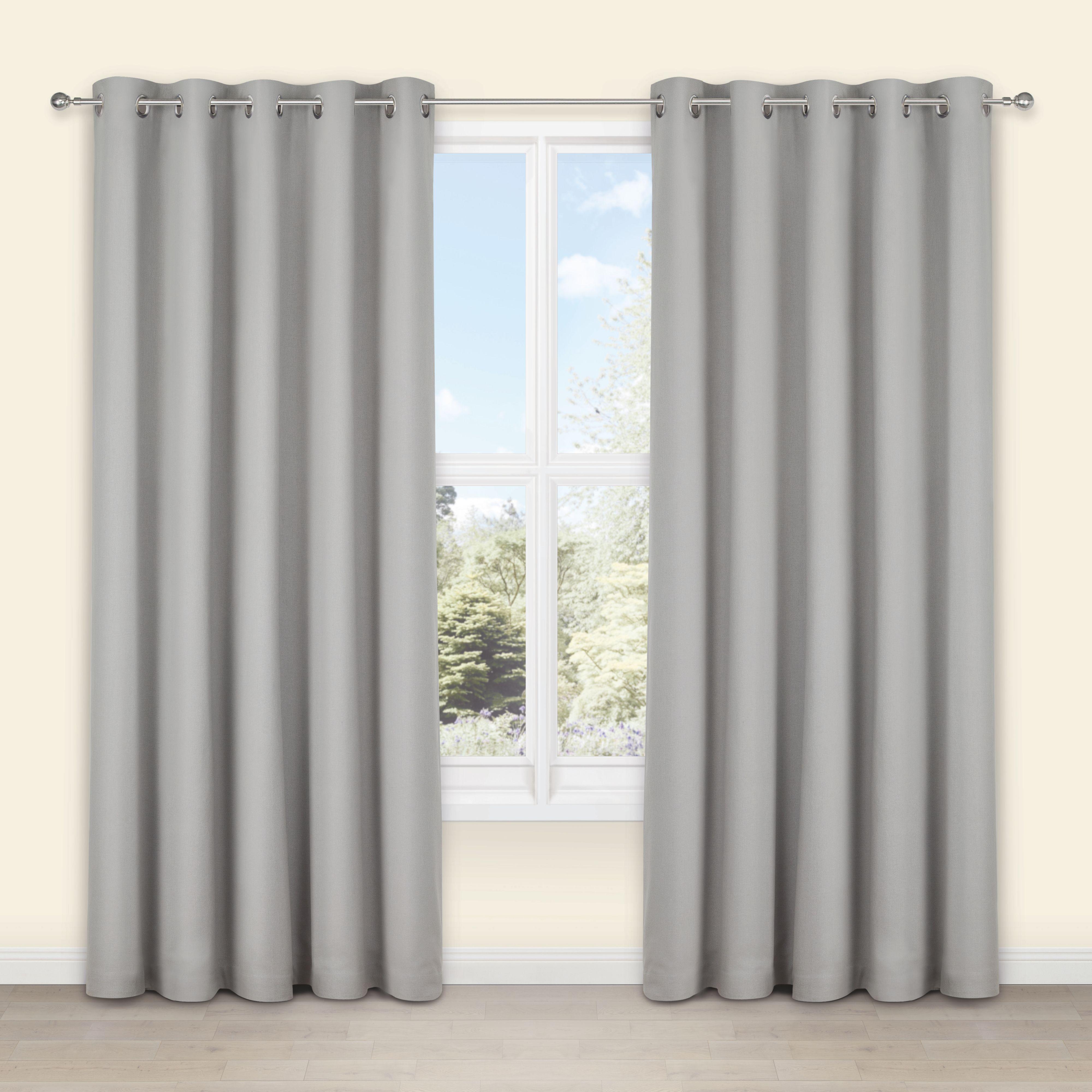 Salla concrete plain woven eyelet lined curtains wcm lcm