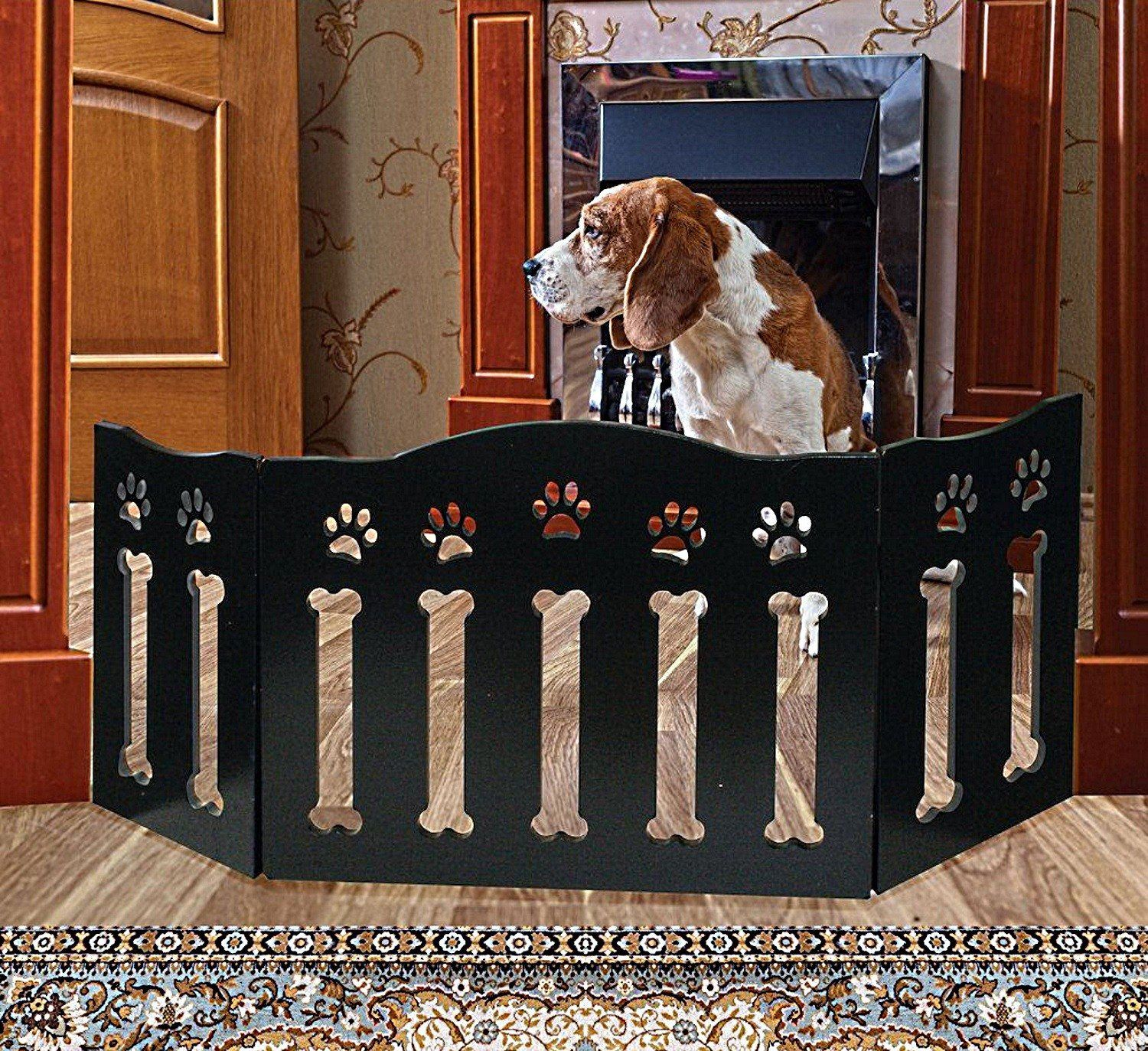 Etna Wooden Paws And Bones Pet Dog Gate Free Standing Trifold 19