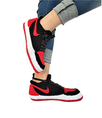 794bbe55569 Amazon.com  Crochet Air Jordan 1 Retro Basketball Flyknit Sneaker Custom  Jumpman Knitting Slippers BRED TOE  Handmade