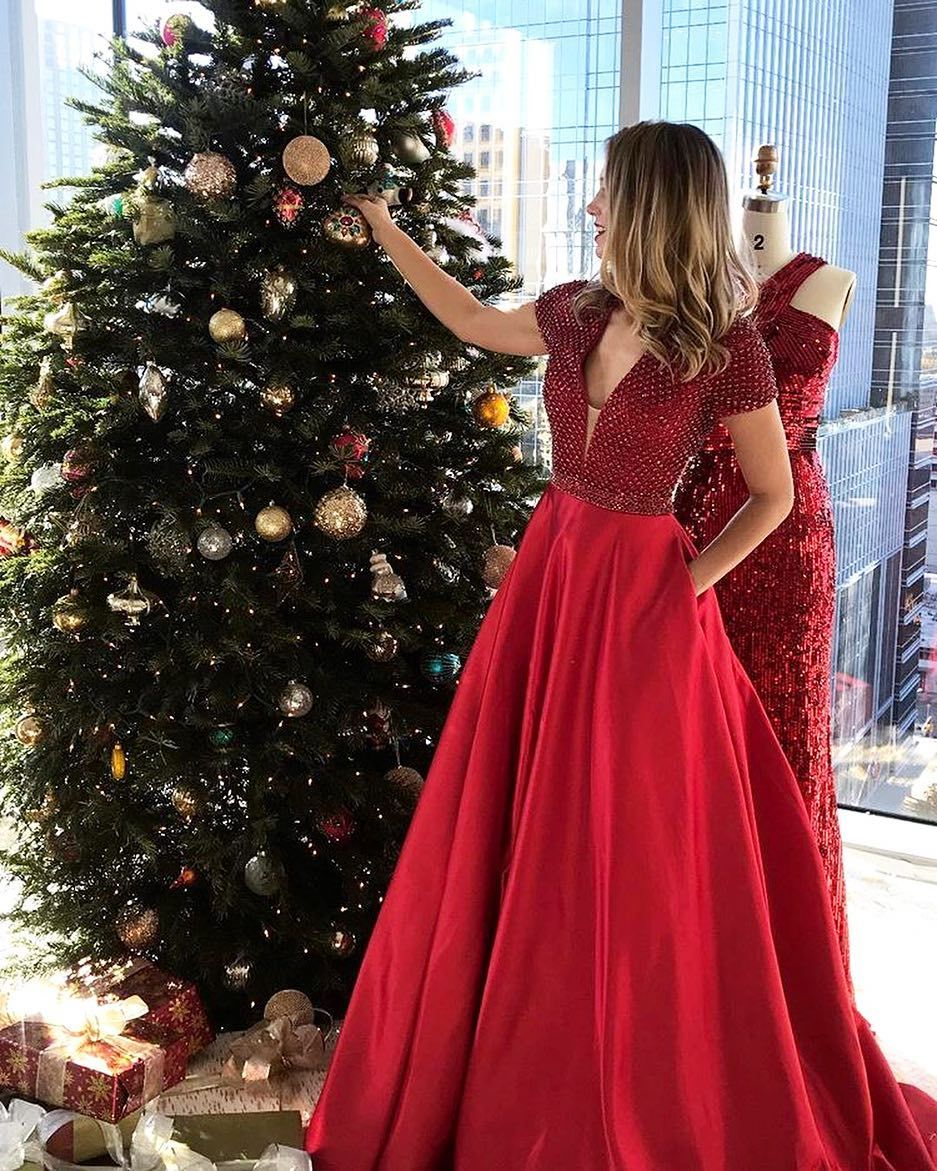 Red long prom dress with pockets prom dresspd fashion