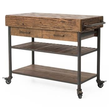 Kershaw Rustic Chunky Reclaimed Wood Iron Double Drawer Kitchen Entrancing Rustic Kitchen Cart Design Ideas