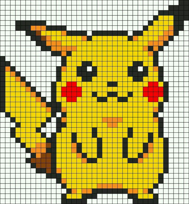 Pikachu Point De Croix Pokemon Dessin Petit Carreau Perles A