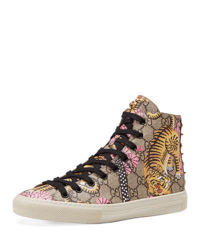 73ca2864c1eed GUCCI Major High-Top Gg Tiger Canvas Sneaker