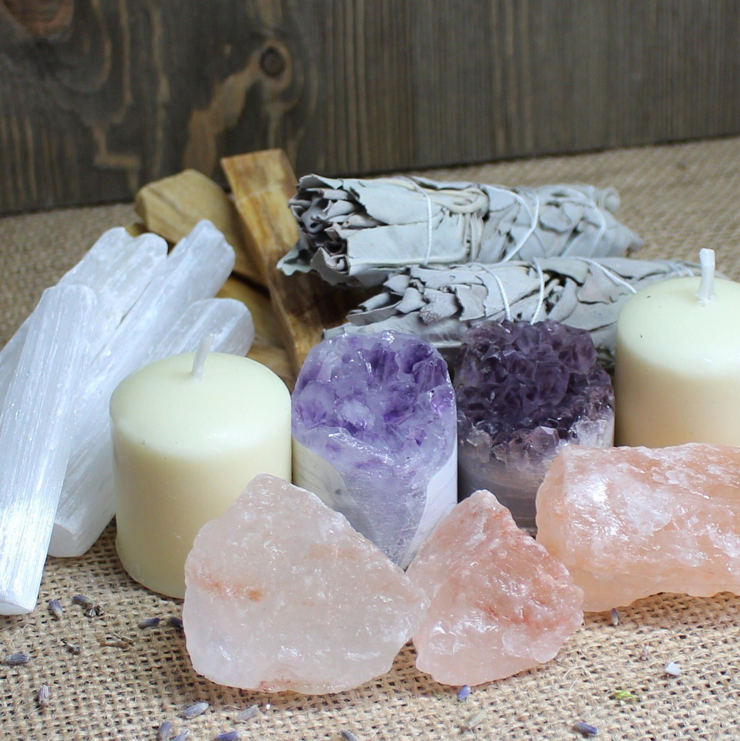 Cleansing set smudge kit crystals stones and crystals