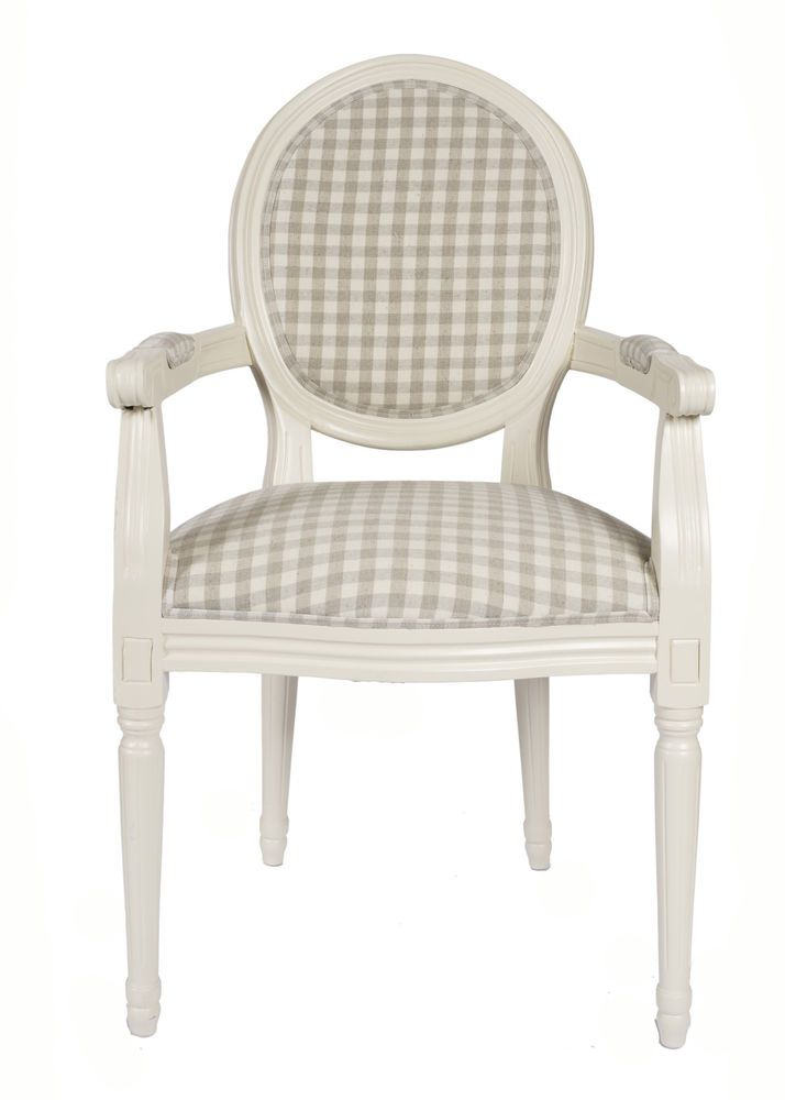 French Louis Armchair Frame Vintage Shabby Chic Gingham Tartan Chair