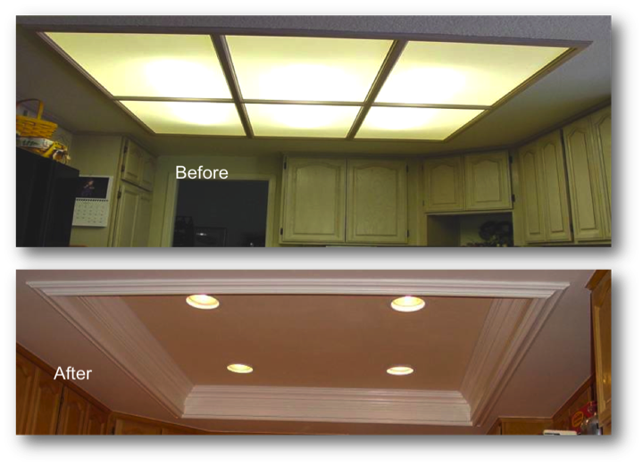 Kitchen Coffered Ceiling Giving Your Kitchen A Much Larger Feel Kitchen Lighting Remodel Kitchen Recessed Lighting Diy Kitchen Lighting